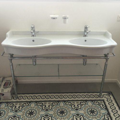 Salle de bains vasque rétro céramique à Bousbecque (Lille)