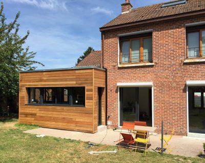 Extension bardage avec ossature en bois à Lambersart (Lille)